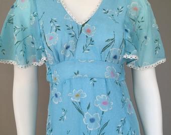Vintage 1970s Maxi Dress / 70s / Blue / Floral / Small / Petite