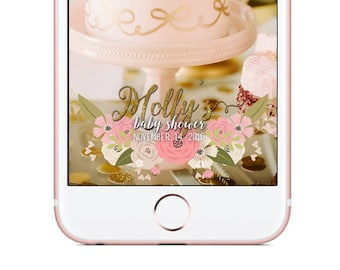 Custom Snapchat Geofilter, Baby Shower Snapchat Filter, Pink and Gold Roses Filter