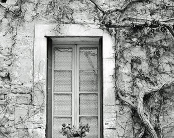 France Photography, Black and White, Rustic Wall Art, French country, window, Provence, European Village, Europe, Travel photo Print