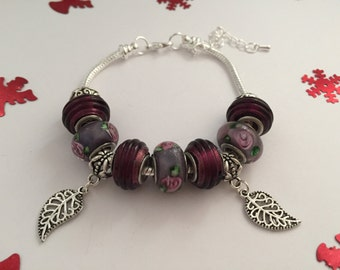 Bracelet charm's, plum color, with charms leaves ref 676