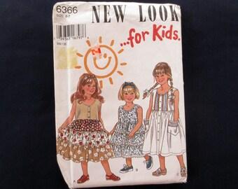 1995 Girls Sleeveless Tiered Dress & Headband Uncut Vintage Pattern, New Look for Kids 6366, Size 2, 3, 4, 5, 6, 7