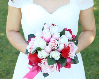 Real touch hot pink Cymbidium orchids, pink and white roses and red calla lily wedding Bridal bouquet