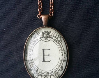 "Vintage 1939 Italian Dictionary Initial Necklace: ""E"""
