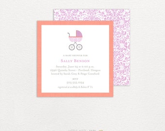 Baby Shower Invitations- Baby Carriage- Girl, Boy, Gender Neutral- printed or digital