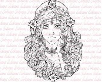 digital stamp beautiful gypsy portrait esmeralda arabic woman flowers baroque design - Coloring Pages Beautiful Angels