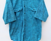 90s Shirt / Men's LARGE XL / Bright Blue Static Printed Short Sleeve Button Down / FAX / 80s 90s Pattern Shirt / Bright Colorful Faded Worn