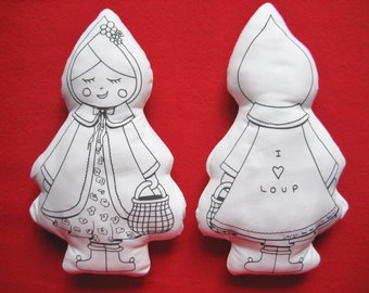 Doll little Red Riding Hood coloring / doll color and will machine / Wolf doll / Princess or pirate doll / nesting doll