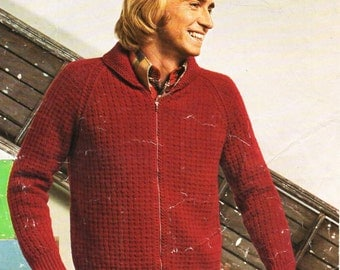 Knitting Pattern Bomber Jacket : Vintage knit bomber jacket pattern Etsy