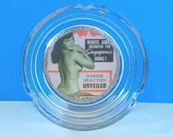 Beautiful Bettie Page Glass Ashtray, Smoke Accessory, Ashtray, Bettie Page, Retro PinUp, Handmade, Made By Mod.