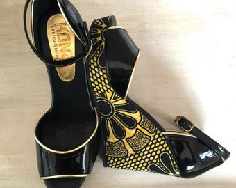 Beautiful wedges with kitenge accents - Introductory price 20% OFF