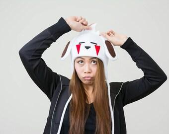 Akamaru Aviator Hat - Akamaru Costume - Akamaru Hat - Kiba's Dog Hat - Dog Ears - Akamaru Dog Hat - Akamaru Fleece Hat - Akamaru Anime Hat