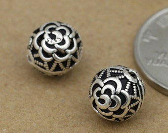 5 Sterling Silver Rose Round Beads, Sterling Rose Bead, Sterling Flower Bead, 925 Silver Rose Round Bead, 925 Silver Spacer Bead 10mm - F299