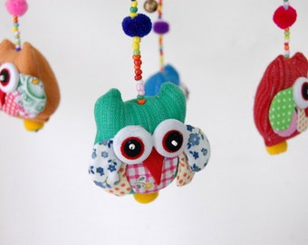 Handmade Cute Owl Baby Mobile with Orange Frame