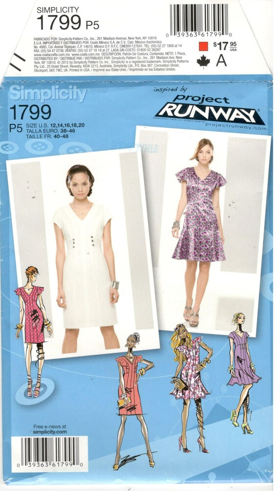 Simplicity 1799 Size 12 14 16 18 20 Womens Project Runway Princess Seam Dress With Flounce Sewing Pattern Short Cap Sleeve From ShopAndSew