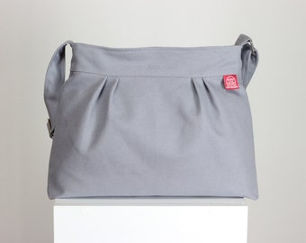 Light Gray Small Purse Bag Washable Pleated Canvas Bag Different Colors Available Shoulder Bag Zipper Closed Purse everyday bag Gift for Her