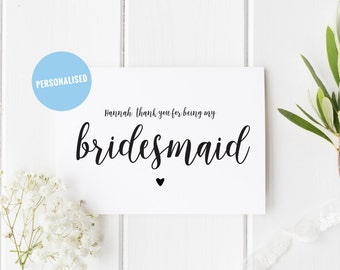 Personalised Thank You For Being My Bridesmaid, Heart Bridesmaid Thank You Card, Pretty Wedding Greeting, Maid of Honour, Flower Girl Card