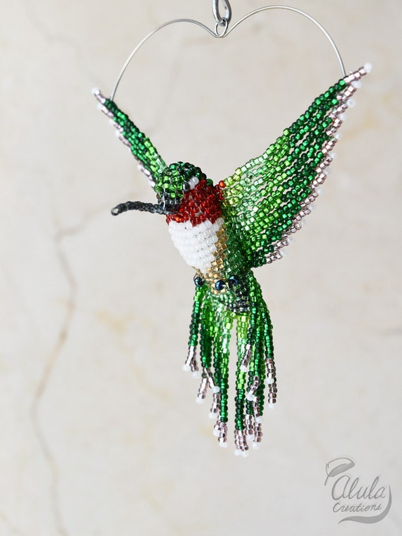 3d beaded bird suncatcher bird ornament beaded hummingbird