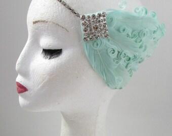 Mint Green Feather Headband Headpiece 1920s Great Gatsby Flapper Silver Fancy Dress 30s Y36