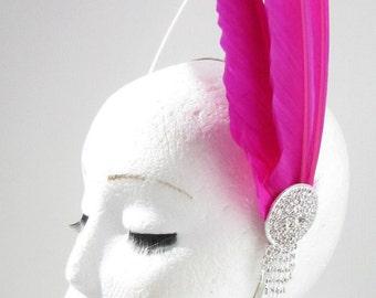 Hot Pink Silver Long Feather Headpiece Fascinator Headband Vintage 1920s 30s Y27