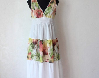 Vintage White Floral Block Patchwork Dress Summer Beach Dress Size M/L