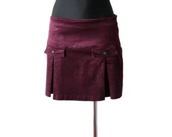 Armani Jeans Burgundy Skirt Corduroy Mini Skirt Cotton Skirt Low Waist Skirt S/M Size
