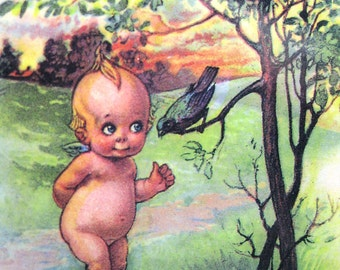"40% off Sale! Gartner & Bender Matted Kewpie Collectible Postcard ~ A Little Birdie Told Me..."""