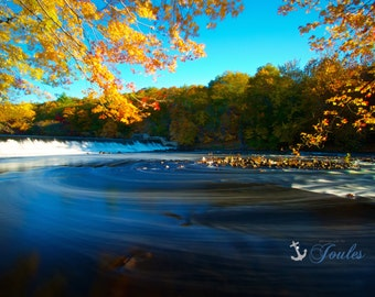 Autumn Swirl ~ Albion Dam, Lincoln, Rhode Island, Fall Foliage, Autumn Photography, Home Decor, Wall Art, Leaves, Waterfall, New England Art