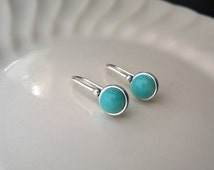 Sterling silver amazonite earrings; turquoise colored earrings; small round gemstone earrings; sterling silver blue gemstone earrings