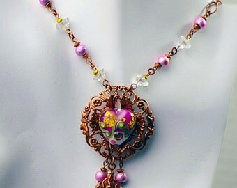 Pink lampwork heart necklace