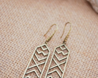 Geometric earrings, fancy unizque jewellery, bronze tone earrings, stylish everyday earrings, long earrings, tribal earrings, boho style