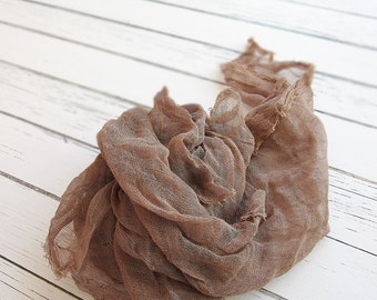 Newborn Cheesecloth Wrap, Brown Baby Wrap, Maternity Cheesecloth Wrap