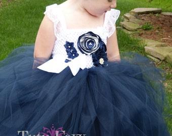 Navy Flower Girl Dress, Navy Flower Girl Tutu Dress, Navy and White Flower Girl Dress, Navy Tutu Dress, Navy and White Tutu Dress