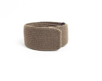 Square Knit Tie / Vintage 1950's Tie / Wool Tie  / Khaki Brown Tie / Made in Denmark