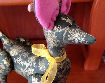 Hande made plush free standing Reindeer