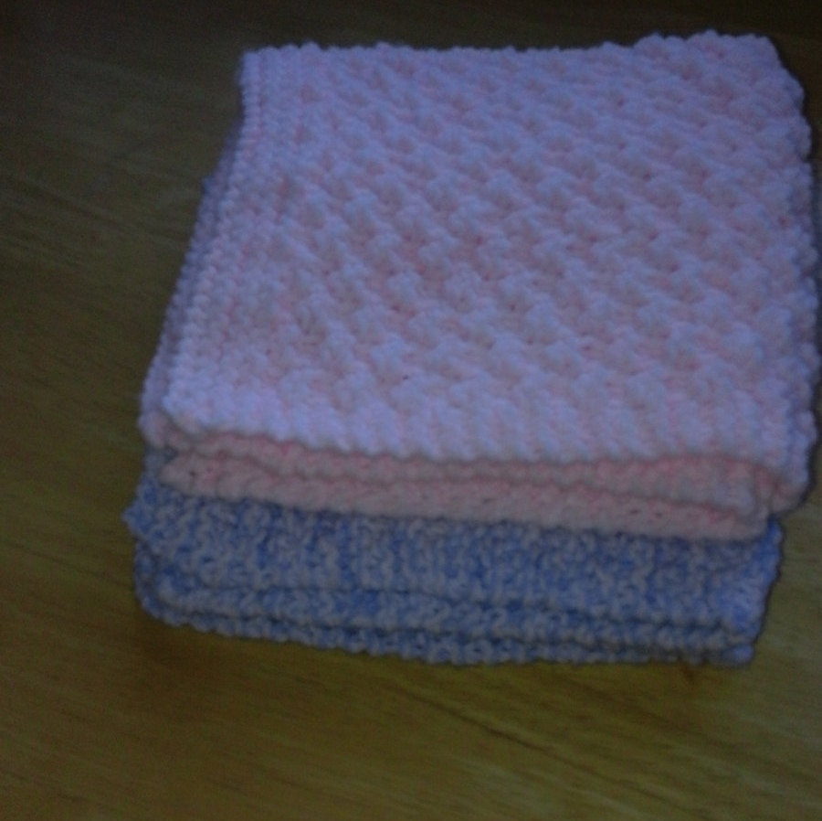 Knitting Pattern For Comfort Blanket : Hand-Made hand-Knitted Baby Comfort Blanket.