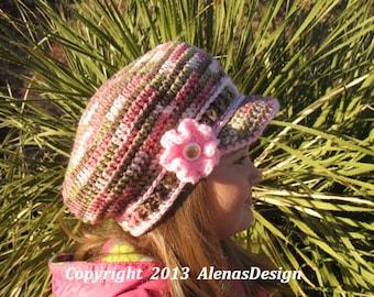 Crochet Newsboy Hat - Pink CAMO Toddler Hat Handmade Ready to ship Girl Hat Visor Hat with Crocheted Flower Christmas Gift Girls Pink Hat