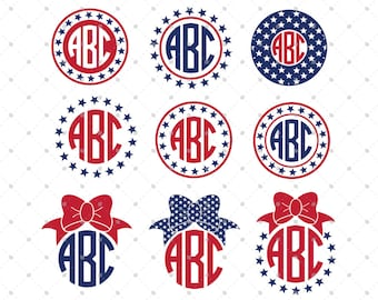 4th of July Monogram Frame svg cut files, 4th of July svg, Independence day svg, cut files for Cricut, Cut files for Silhouette, svg files