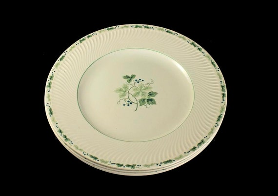 Ironstone Dinner Plates, Midland Enterprises, Concord Pattern, Set of 4, Green Grapevine