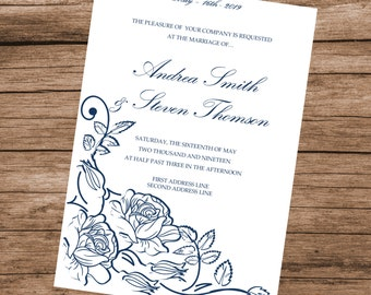 Printable Wedding Invitation Template, Blue Roses Invitation Card, INSTANT DOWNLOAD, Editable Text & Colors, 5x7