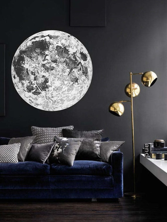 full moon wall decal astronomy wall decal bohemian celestial. Black Bedroom Furniture Sets. Home Design Ideas