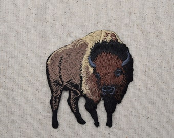 Brown Buffalo - American Bison - Iron on Applique - Embroidered Patch - 695394-A