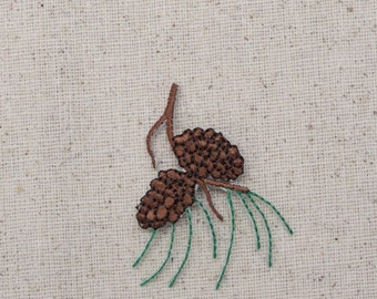 Pine Cones - Needles -Pine Tree Branch - Iron on Applique - Embroidered Patch - 694003A