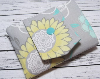 Womens Fabric Billfold Wallet, Credit Card Money Holder, Yellow Turquoise Gray Floral Fabric Billfold