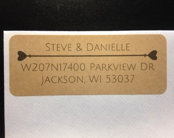 30 Wedding Address Labels, Rustic Wedding Return Address Labels, Heart Wedding Address Labels, Brown Kraft Heart Address Labels