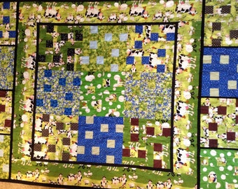 Down on the Farm Quilt//farm theme//9 patch variation//cows//farm animals//blues greens browns