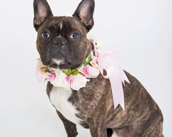 Flower Dog Collar for Weddings - 'Pastel Pink Rose Design' - pastel pink and ivory
