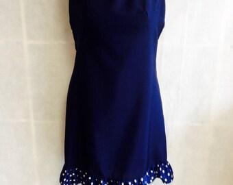 1950's Designer Vintage Mad men Poka Dot frill wiggle Dress. sculpted stylish. Size 12 Medium.