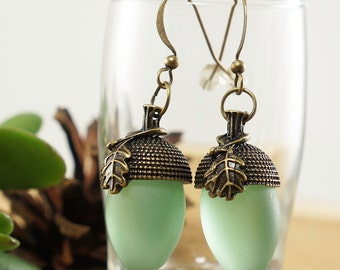 Earrings Green Acorns, with matte glass (#6814)