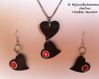 Handmade: Heart shaped jewelry set