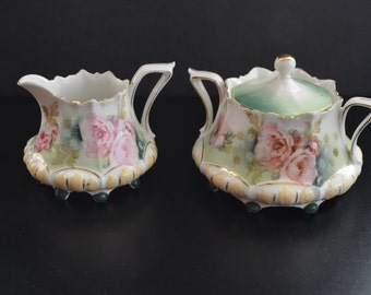 RS Prussia Porcelain Sugar Creamer Set Mold 632 Antique German Porcelain Cottage Chic Decor